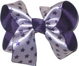 Purple Stars over Purple Medium Double Layer Bow
