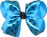 Blue with Black Dots over Blue Large Double Layer Bow