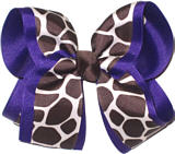 Brown Giraffe Print over Purple Large Double Layer Bow