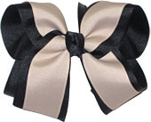 Navy and Oatmeal Large Double Layer Bow