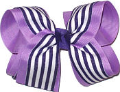 Orchid and Regal Purple with White Stripe Large Double Layer Bow
