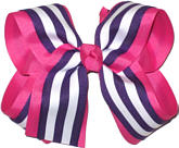 Shocking Pink and Regal Purple with White Stripe Large Double Layer Bow
