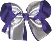 Silver/Regal Purple Large Double Layer Bow