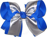 Silver/Electric Blue Large Double Layer Bow