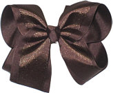 Chiffon Glitter over Brown Large Double Layer Bow