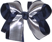 Silver/Navy Large Double Layer Bow