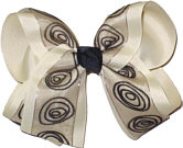 Brown Swirl Chiffon over Light Ivory Large Double Layer Bow