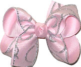 Medium Pink with Silver Glitter Swirl over Pink Grosgrain Medium Double Layer Bow