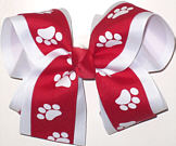 Large Red and White over White School Bow
