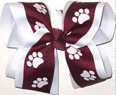 Large Burgundy and White over White School Bow