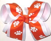 Orange and White over White Large Double Layer Bow