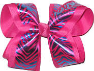 Blue and Hot Pink Tiger Stripe over Hot Pink Large Double Layer Bow