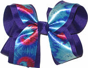 Tie Dye over Purple Large Double Layer Bow