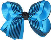 Mystic Blue and Black Large Double Layer Bow
