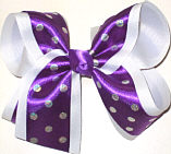 Satin Regal Purple with Silver Dots over White Large Double Layer Bow