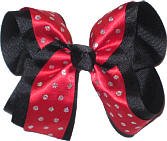 Red with Silver Glitter Dots over Black Large Double Layer Bow