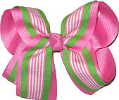 Green Pink and White over Pink Large Double Layer Bow