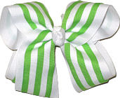 Green and White over White Large Double Layer Bow