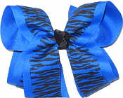 Electric Blue and Black Tiger Stripe over Electric Blue Large Double Layer Bow