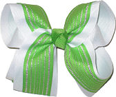 Green with Metallic Silver Stripes over White Large Double Layer Bow
