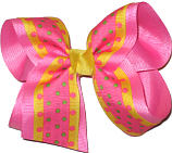 Hot Pink and Yellow with Hot Pink and Green Dots over Hot Pink Large Double Layer Bow