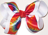 Tie Dye over White Large Double Layer Bow