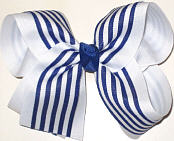 Century Blue and White Large Double Layer Bow
