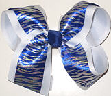 Blue and Silver Tiger over White Large Double Layer Bow