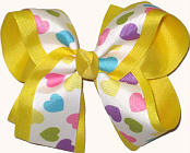 Pastel Hearts over Maize Large Double Layer Bow