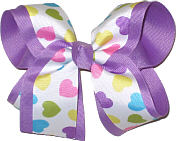 Pastel Hearts over Orchid Large Double Layer Bow