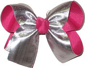 Silver Lame' over Shocking Pink Medium Double Layer Bow