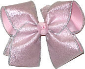 Chiffon Silver Glitter over Light Pink Large Double Layer Bow