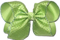 Chiffon with Green Glitter Dots over Lemon Grass Large Double Layer Bow
