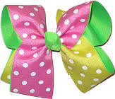 Hot Pink and Maize Polka Dot over Neon Green Large Double Layer Bow
