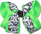 Black and White Neon Green Large Double Layer Bow