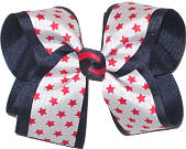 Large Navy and White with Red Stars Large Double Layer Bow