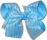 SChiffon with SIlver Glitter Stripes over Blue Large Double Layer Bow