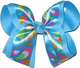 Satin Pasley Print over Mystic Blue Large Double Layer Bow
