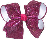 Shocking Pink Glitter over White Large Double Layer Bow