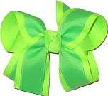 Neon Lime and Neon Green Medium Double Layer Bow