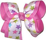 Pastel Stars over Hot Pink Large Double Layer Bow