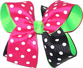 Shocking Pink and Black Polka Dot over Neon Green Large Double Layer Bow