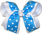 Blue with White Dots over White Large Double Layer Bow