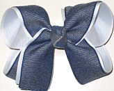Denim and White Medium Double Layer Bow