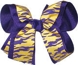 Purple and Yellow Gold Tiger over Purple Large Double Layer Bow
