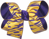 Purple and Yellow Gold Tiger Stripes over Purple Grosgrain Medium Double Layer Bow