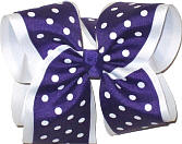Regal Purple and White MEGA Extra Large Double Layer Bow