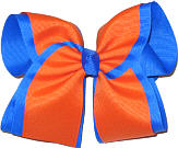 Electric Blue and Orange MEGA Extra Large Double Layer Bow