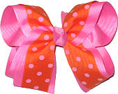 Orange with Hot Pink Dots over Hot Pink Large Double Layer Bow