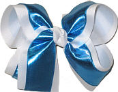 Sapphire/White Large Double Layer Bow